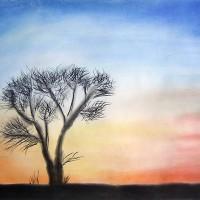 Pastellmalerei: »Afrikanische Steppe«, März 2011 | © mh