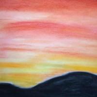 Pastellmalerei: »Feuriger Himmel«, Dezember 2009 | © mh