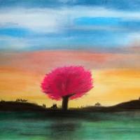 Pastellmalerei: »Blühender japanischer Kirschbaum«, April 2011 | © mh