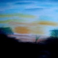 Pastellmalerei: »Sonnenaufgang in der Wüste New Mexicos«, November 2009 | © mh