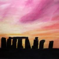 Pastellmalerei: »Stonehenge, prähistorische Heilstätte«, April 2011 | © mh