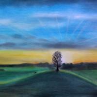 Pastellmalerei: »Baumsilhouette vor Sonnenuntergang«, Juli 2013 | © mh