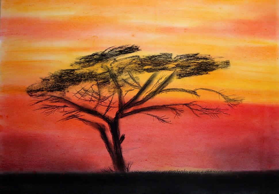 Pastellmalerei: »Sonnenuntergang in Afrika«, März 2011 | © mh