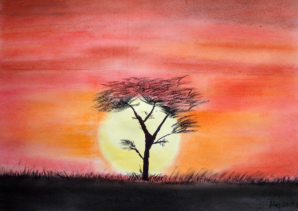 © Markus Hüfner, März 2011 | »Sonnenaufgang in Afrika« | zum Vergrößern auf das Bild klicken