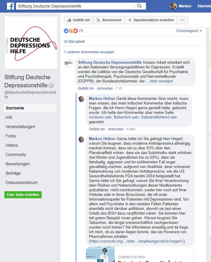 Screenshot Kommentar Facebook-Seite Stiftung Deutsche Depressionshilfe