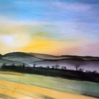 Pastellmalerei: »Landschaft in der Toskana«, Juni 2013 | © mh