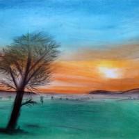Pastellmalerei: »Hinter dem Horizont«, Juli 2011 | © mh